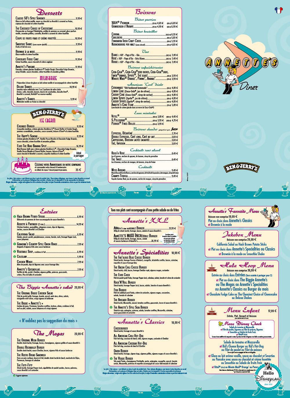 Menus Annette's Diner Disneyland Paris