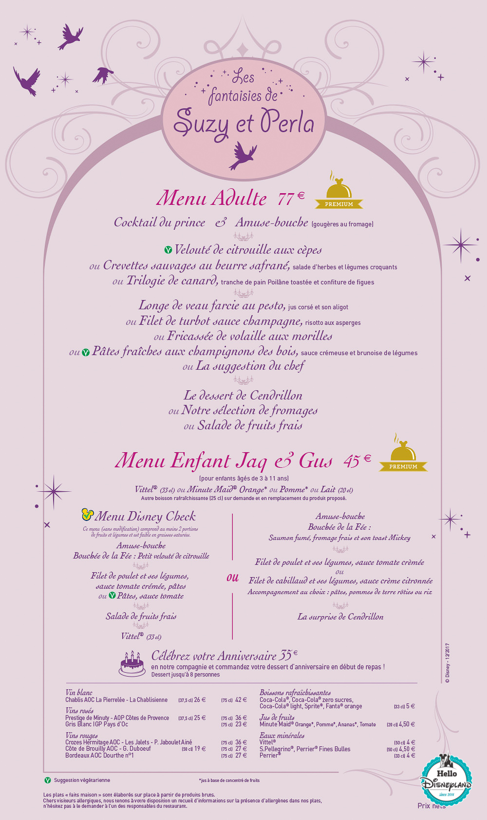 Menus Auberge Cendrillon Disneyland Paris