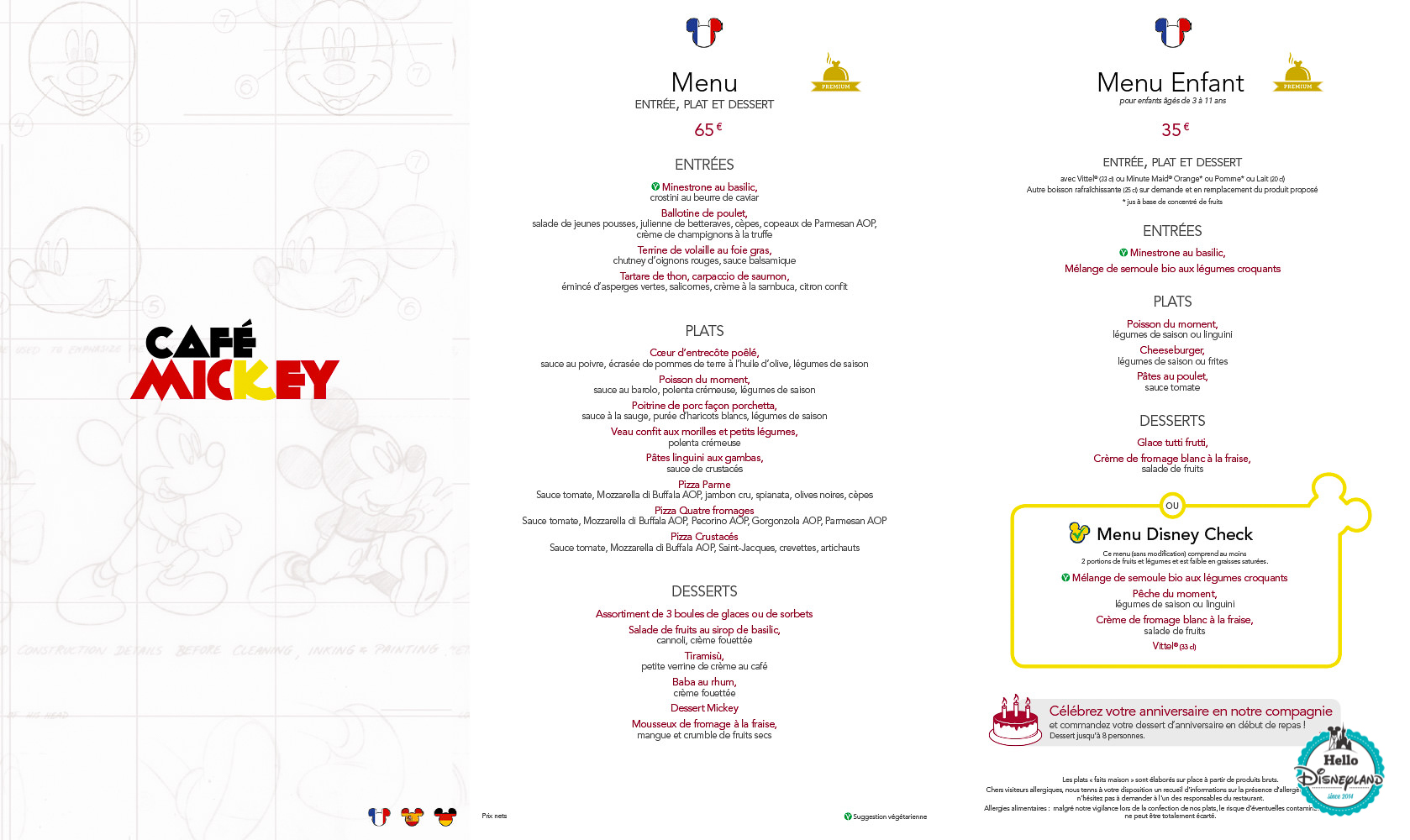 Menus Café Mickey Disneyland Paris