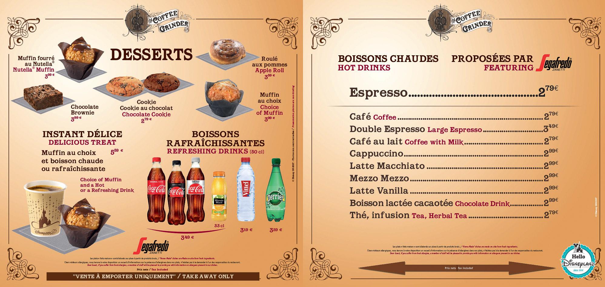 Menus The Coffee Grinder Disneyland Paris