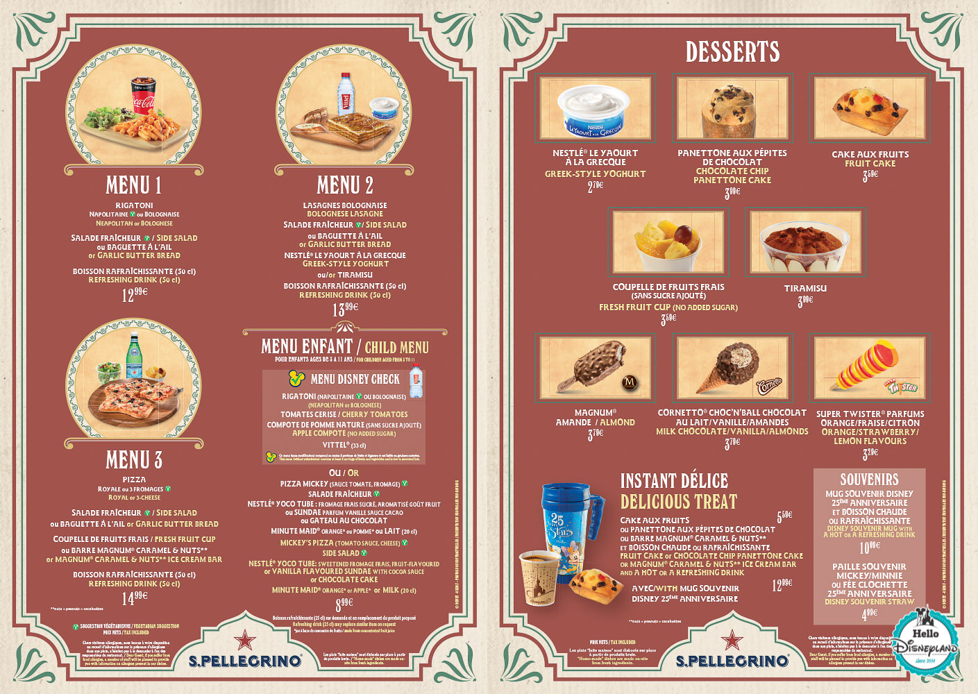 Menus restaurants Disneyland Paris