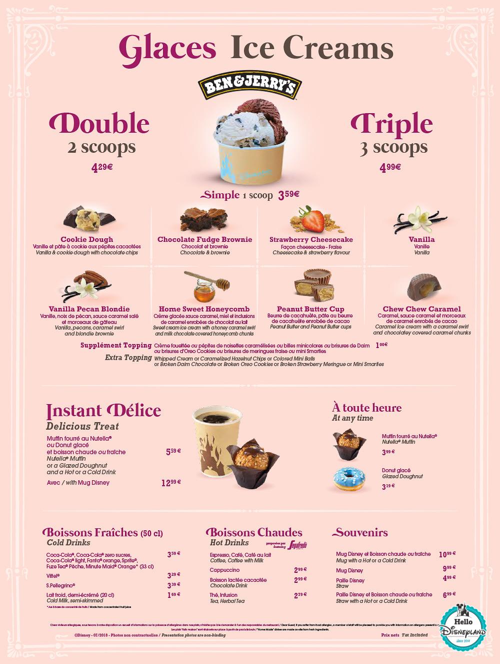 Menus The Gibson Girl Ice Cream Parlour Disneyland Paris