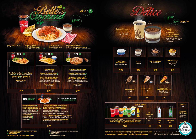 Menus Pizzeria Bella Note Disneyland Paris
