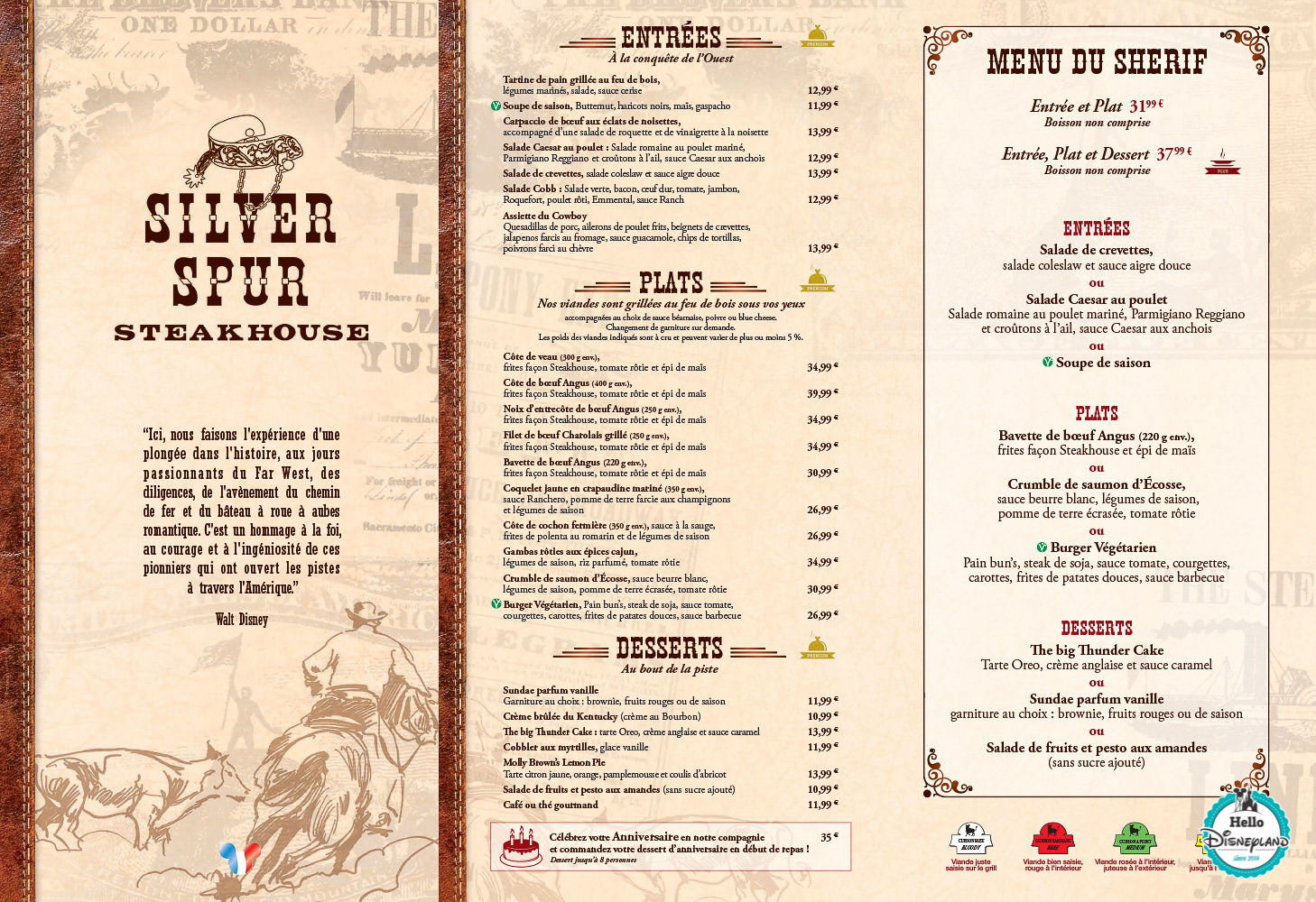 Menus Silver Spur Steakhouse Disneyland Paris