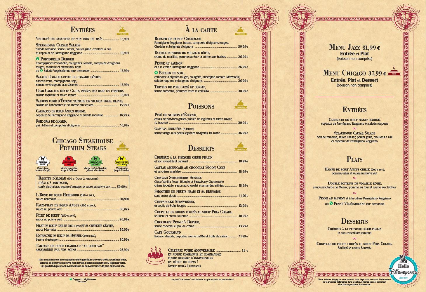 Menus Steakhouse Disney Village Disneyland Paris