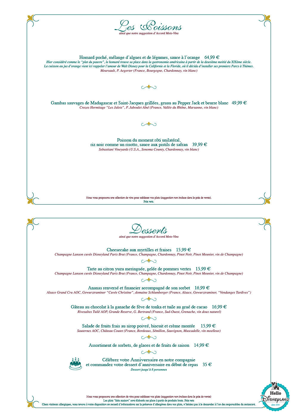 Menus restWalt's – an American Restaurantaurants Disneyland Paris