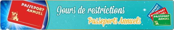 Jours de restrictions pass annuel Disneyland Paris