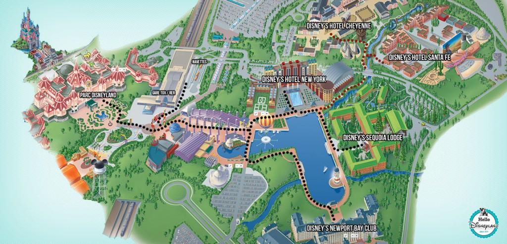 Trajet pour Rejoindre les hôtels Disney à pied