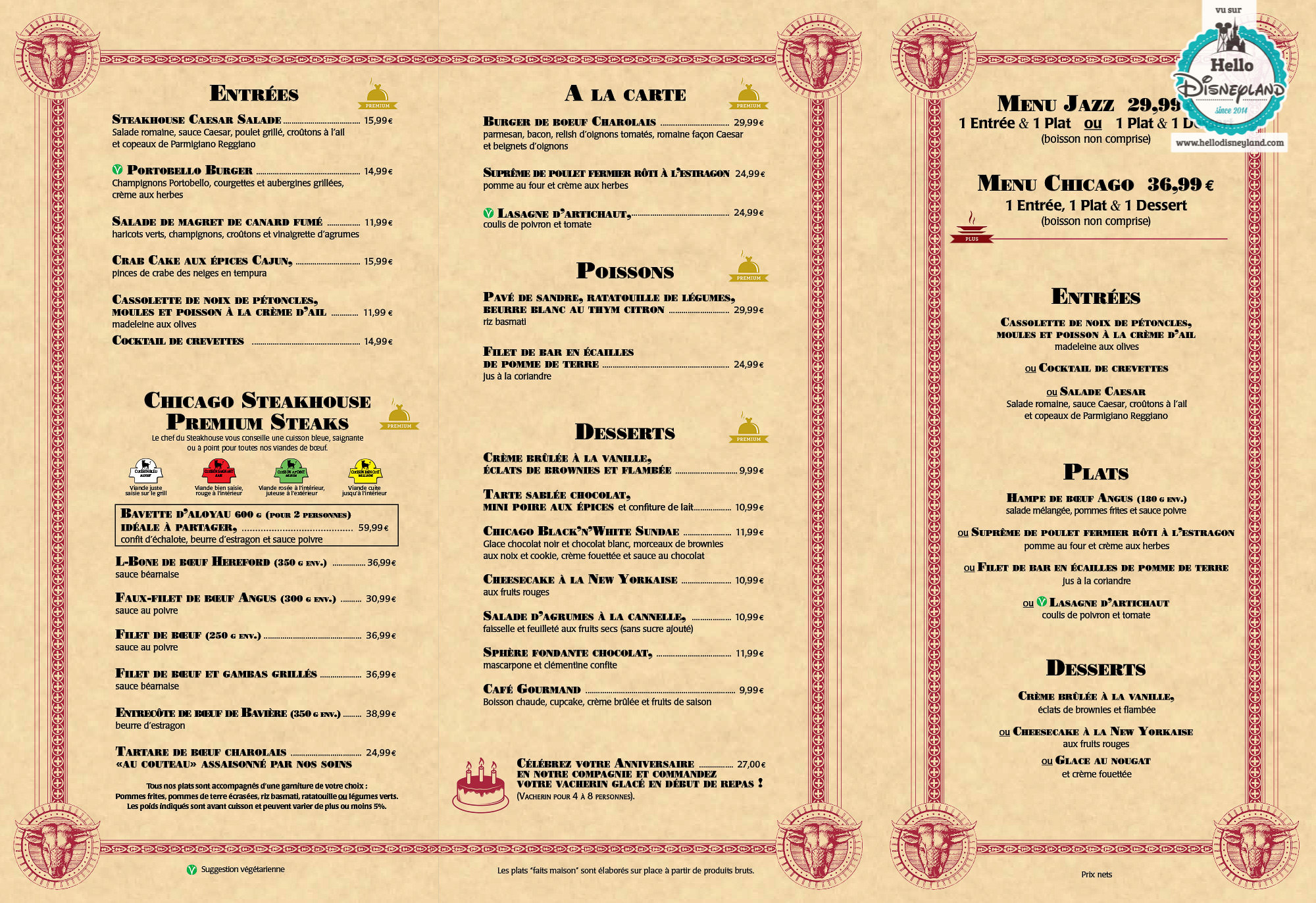 Restaurant Des Stars Disney Menu