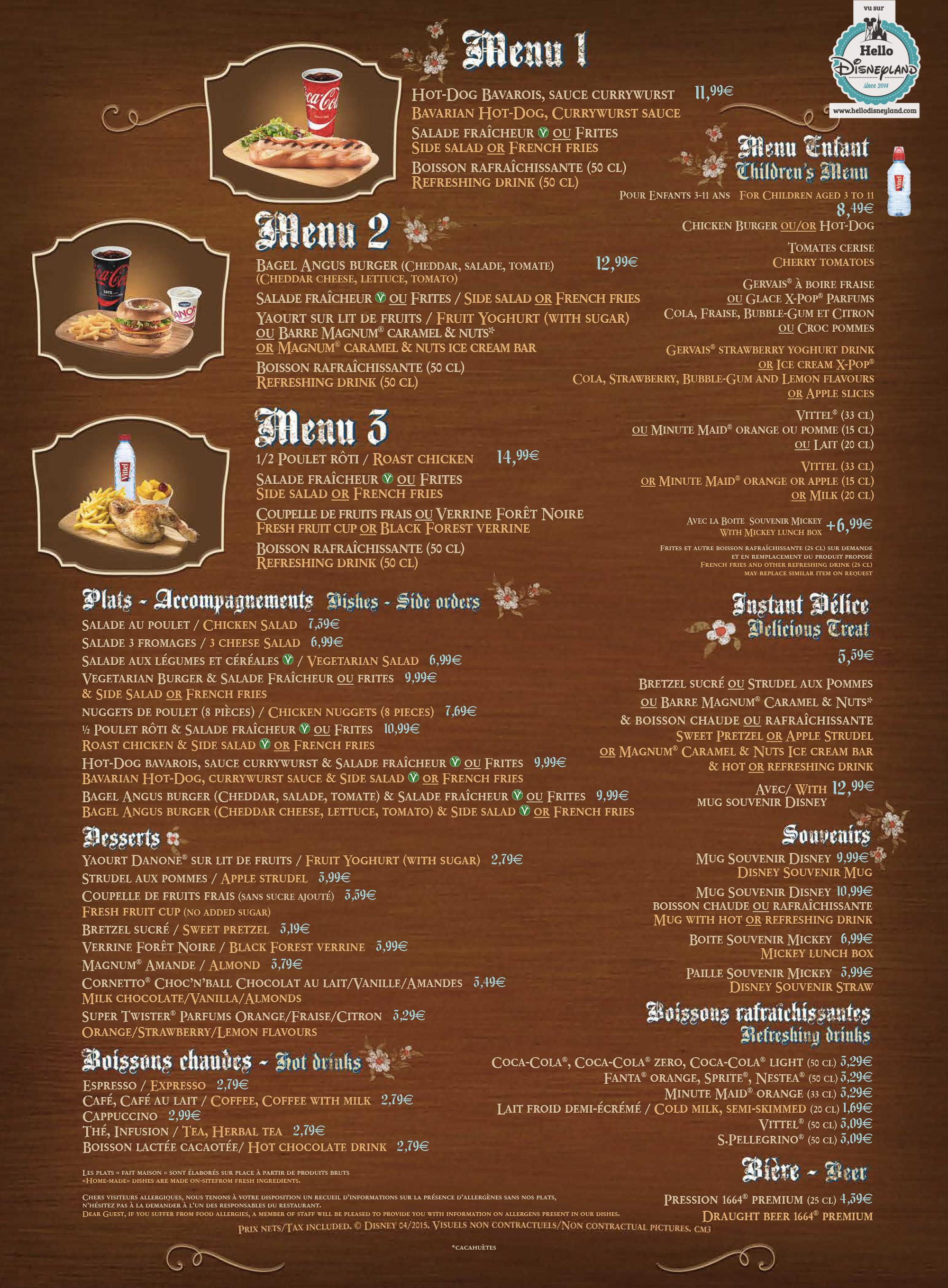 les menus des fast food et restauration rapide  u00e0 disneyland paris