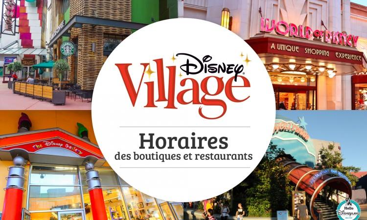 Horaires restaurant Disney Village