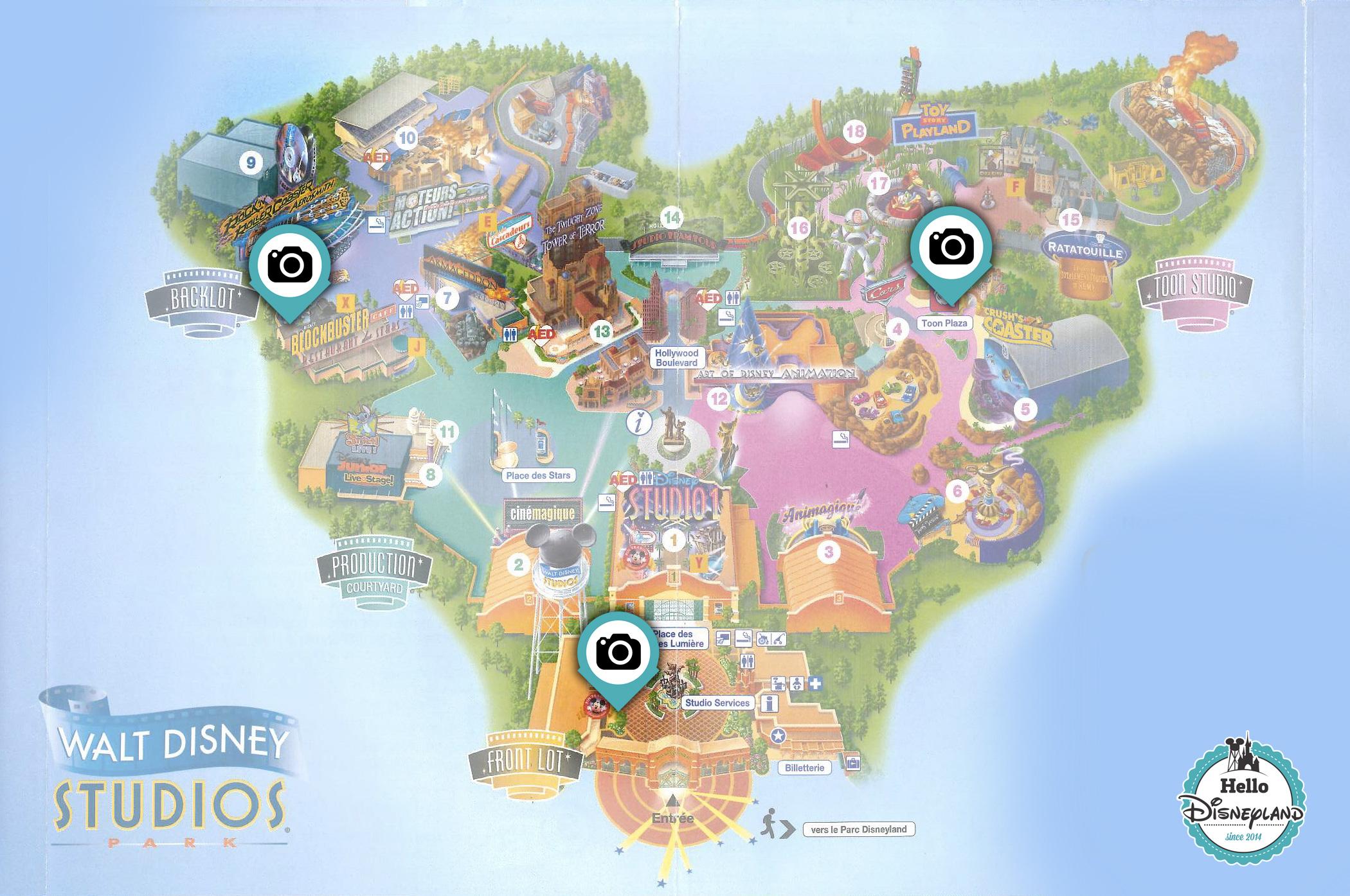Points Photo Princesses et Personnages Disney au parc Walt Disney Studios