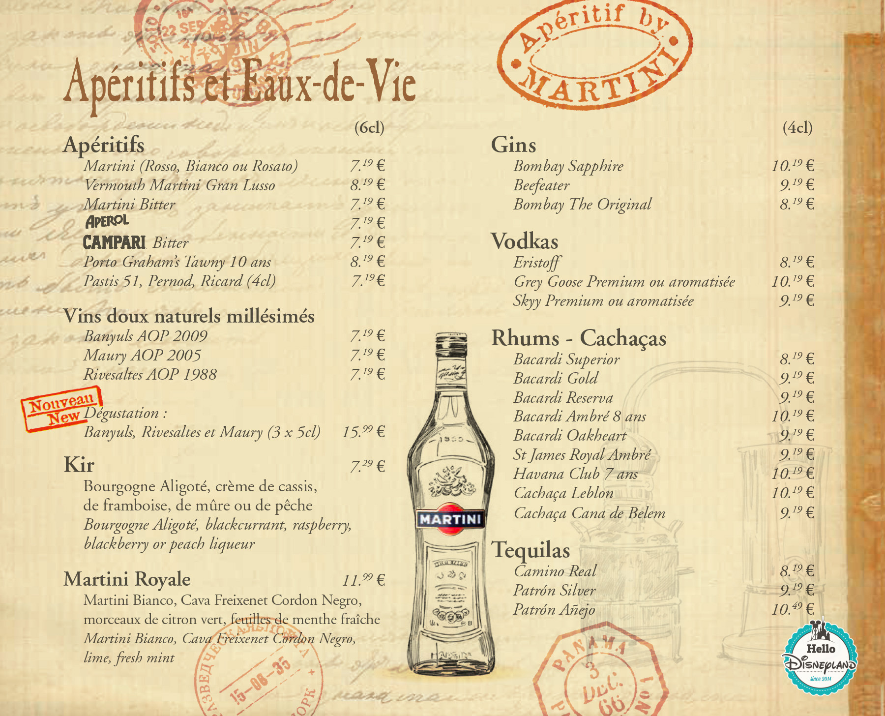 carte boisson bar exemple La carte des bars de Disneyland Paris   Hello Disneyland