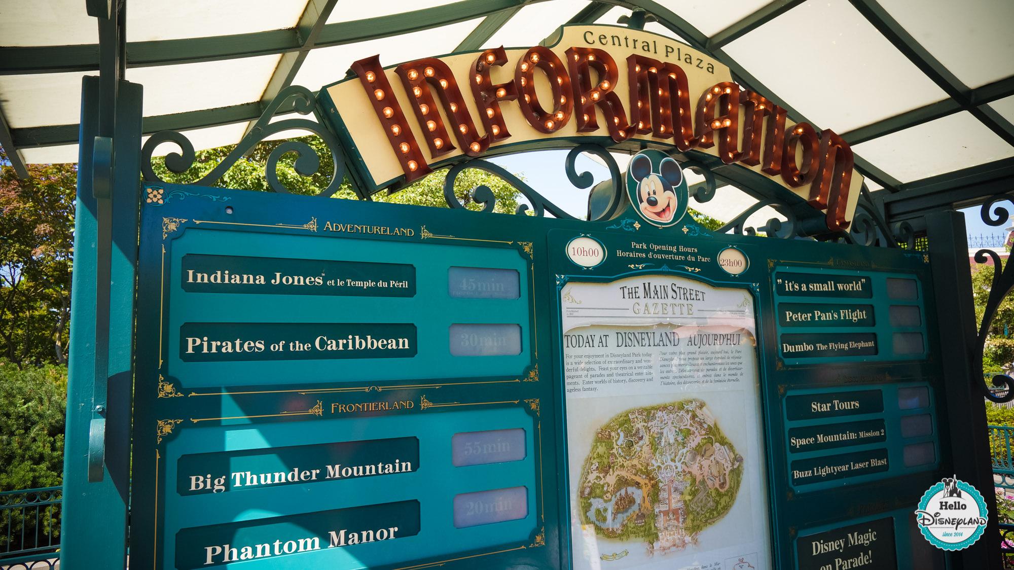 Panneau Informations - Disneyland Paris