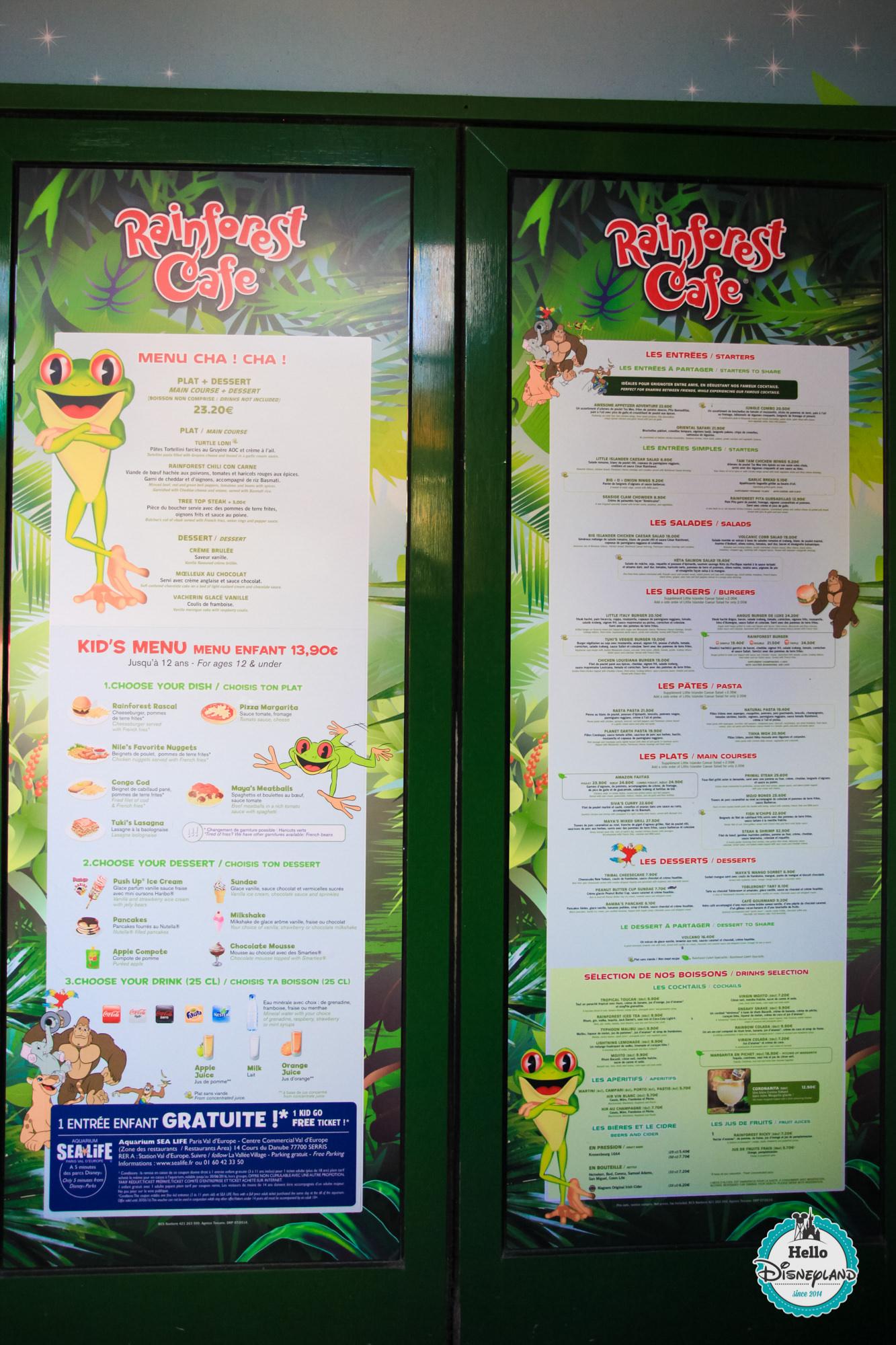 Rainforest Cafe Prlando Menu