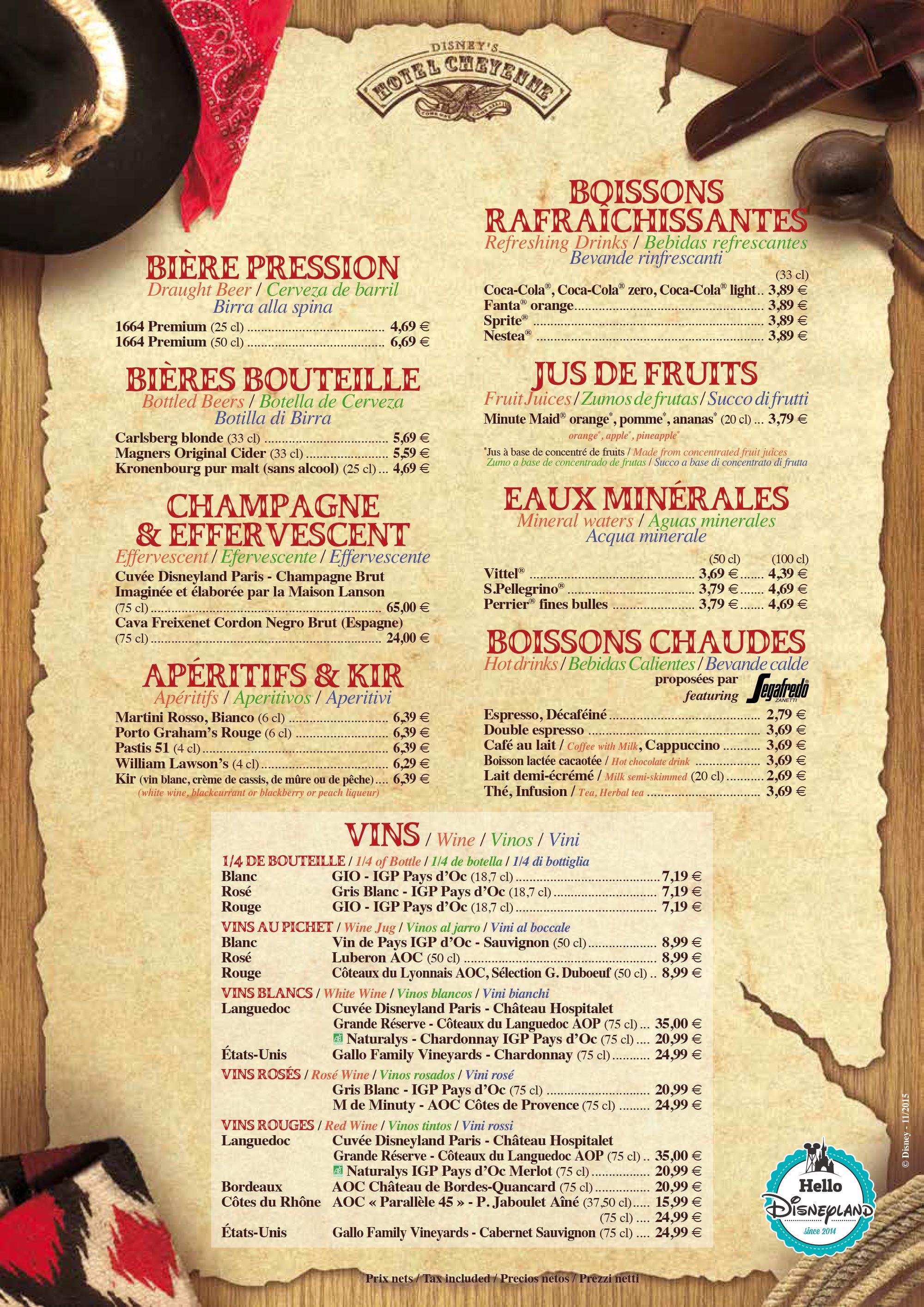 Cheyenne  - Menu Restaurant 2015 - 2016 Disneyland Paris