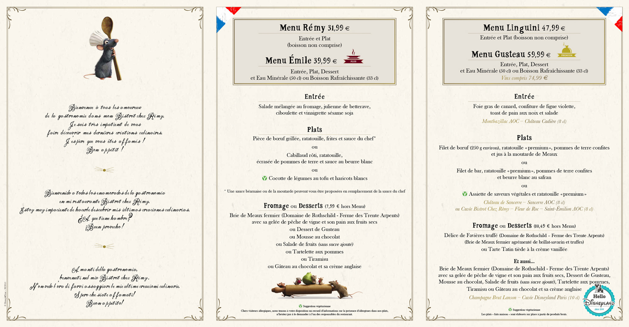 bistrot ratatouille restaurant menu 2015 - 2016