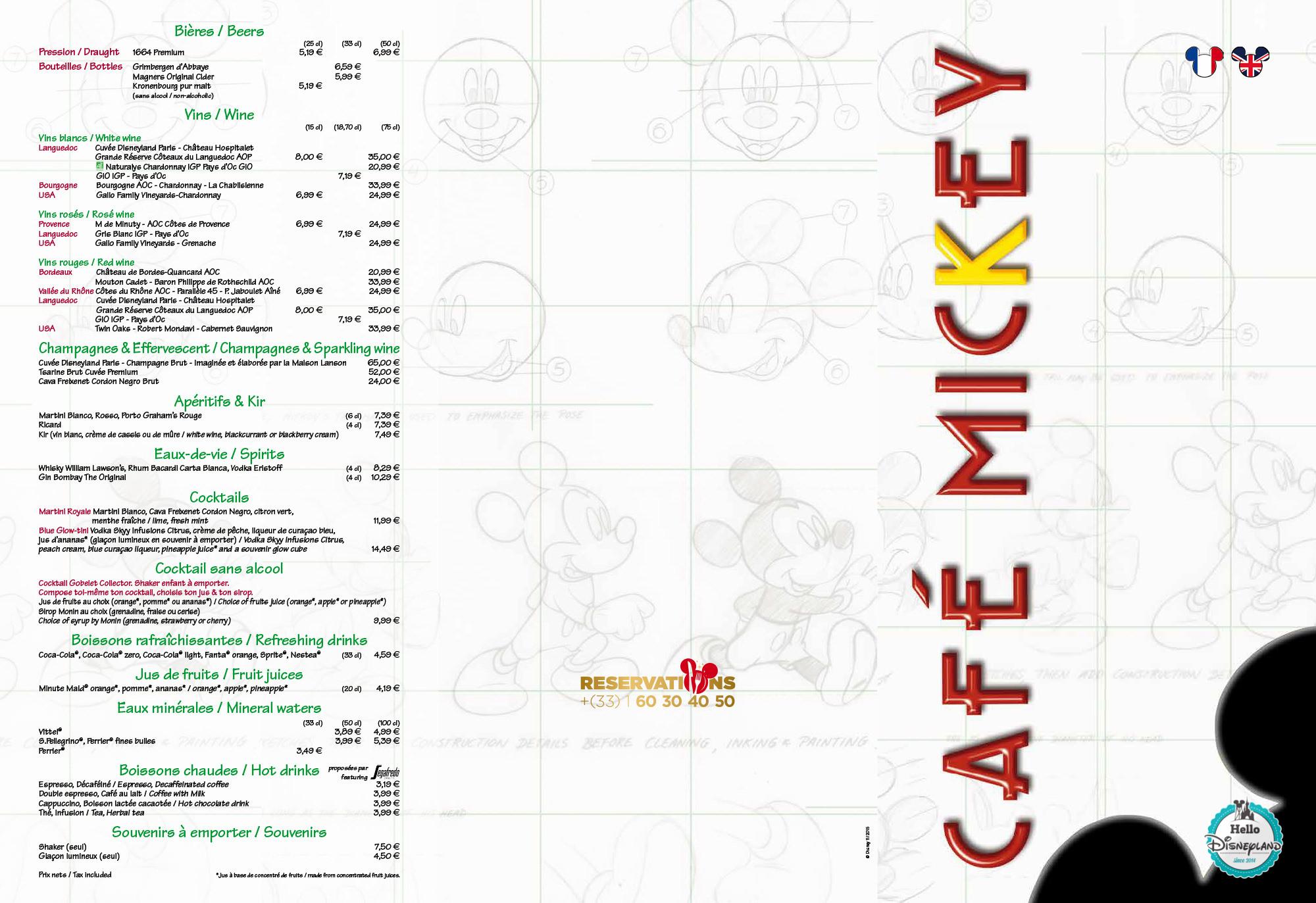 menu café mickey 2015 2016 Disneyland Paris