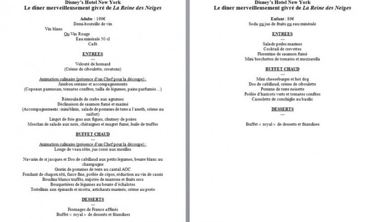 frozen dinner menu FR