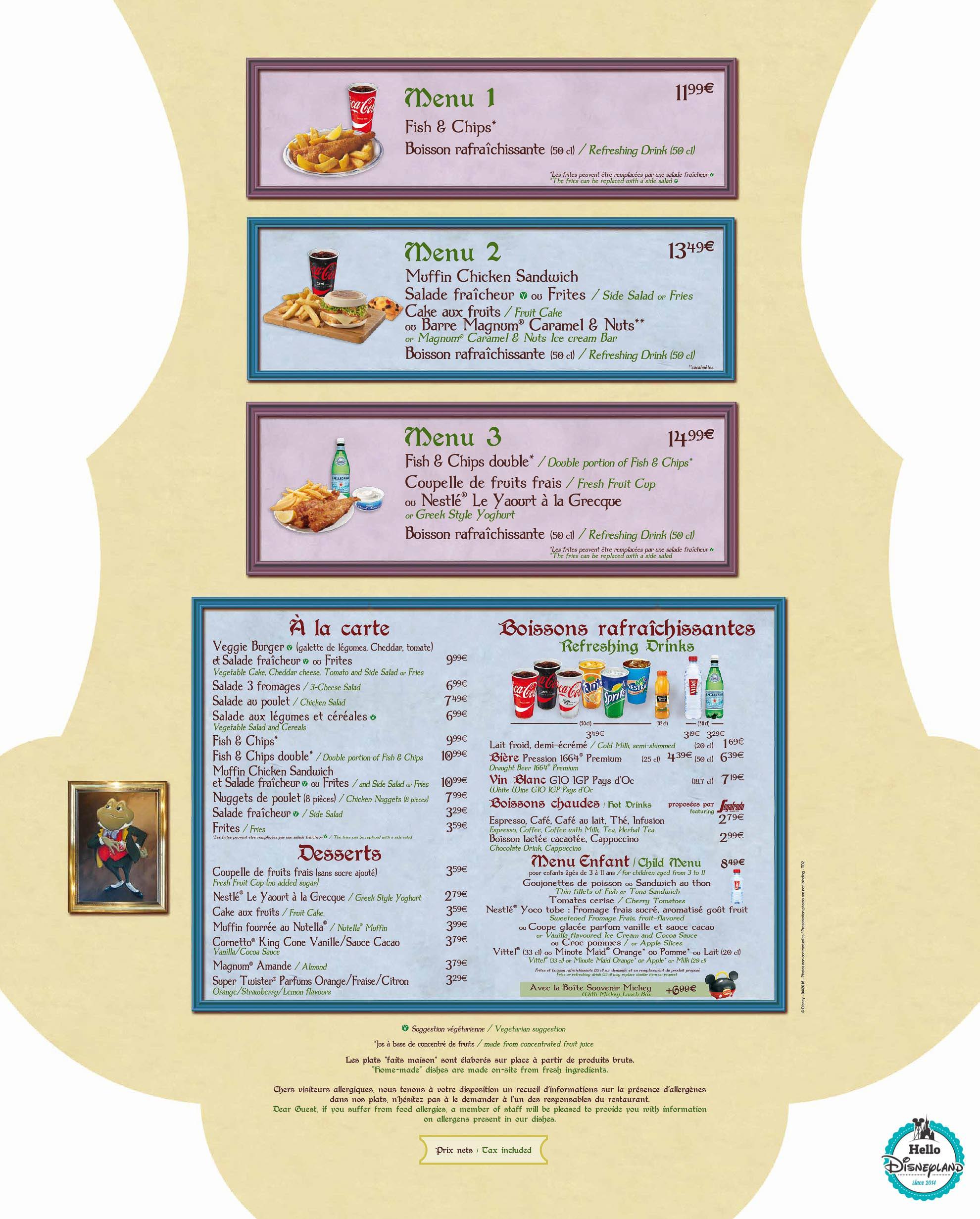 Disneyland PAris Restaurant Menu 2016