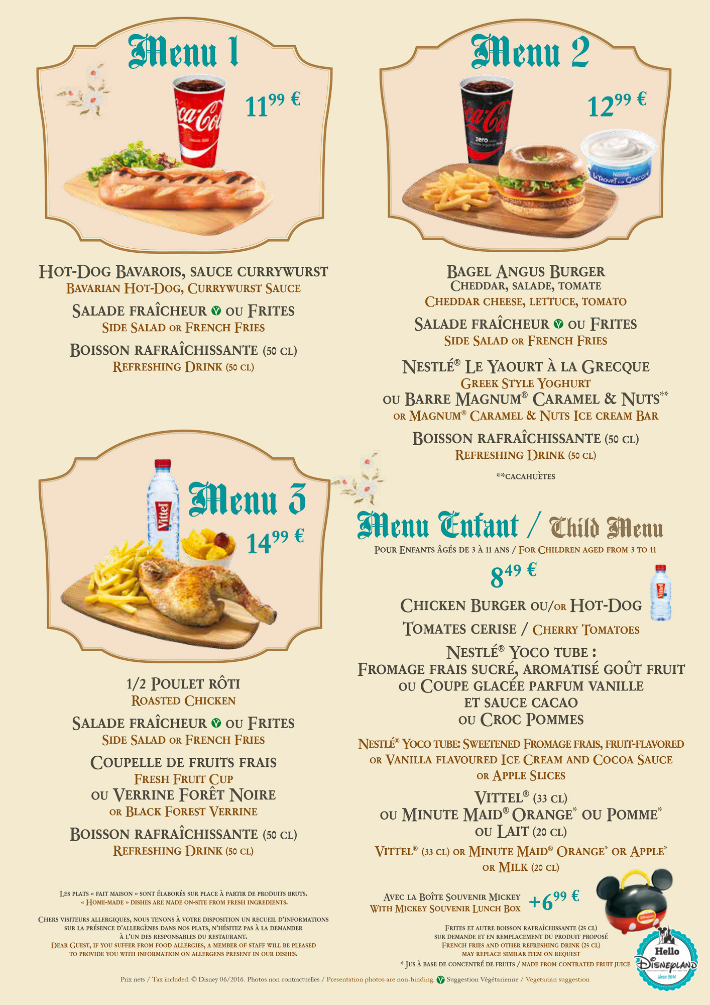 Parcs disney et disney village menus cartes des for H kitchen paris menu