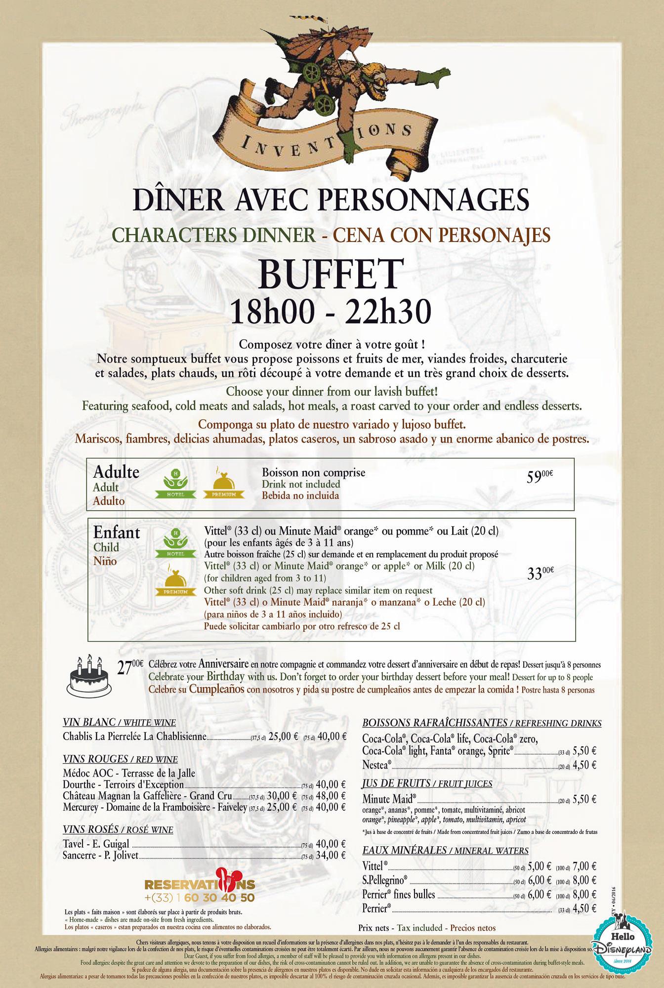 Tarif Menu Restaurant Disney