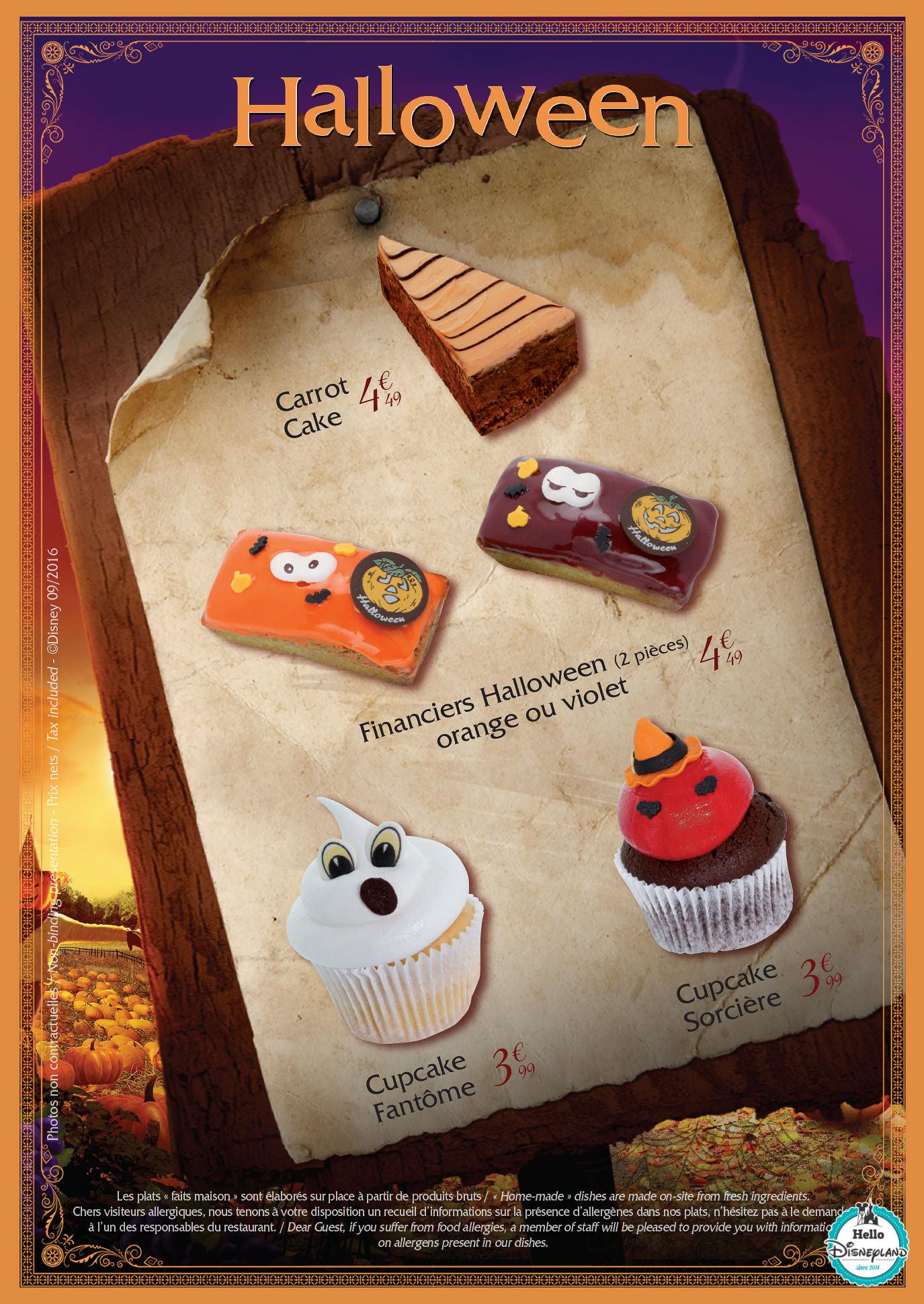 menus halloween 2016 Disneyland Paris