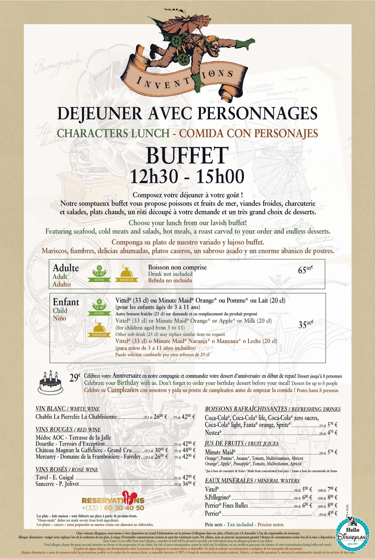 Restaurant Les Inventions Disneyland Paris Prix