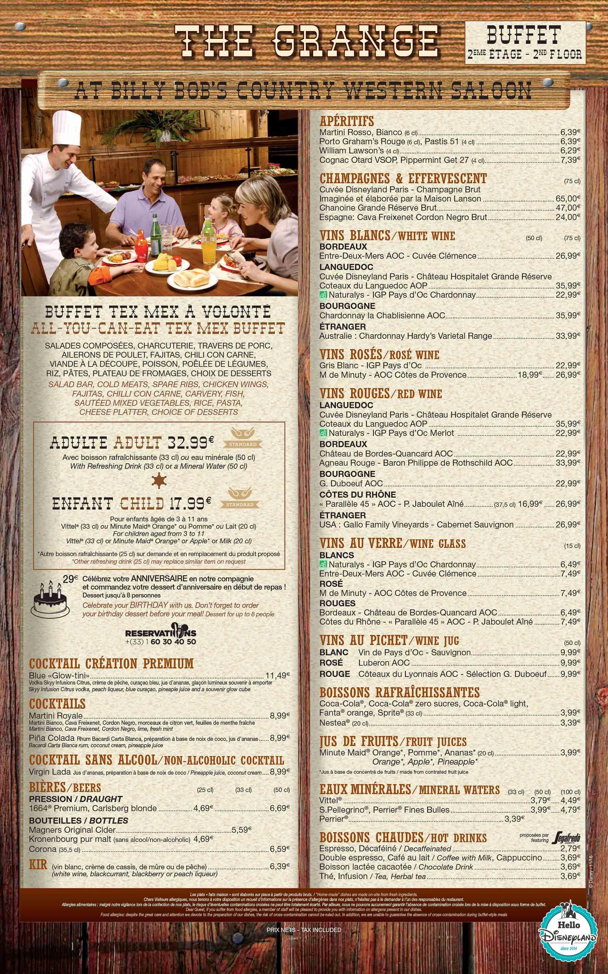 La grange  - Menu Restaurant 2015 - 2016 Disneyland Paris