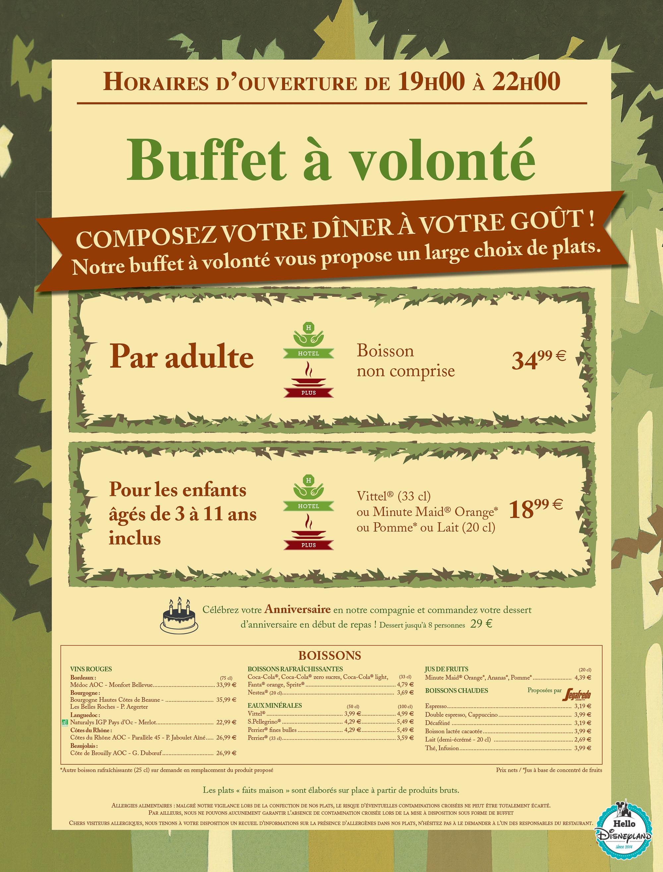 Sequoia Lodge  - Menu Restaurant 2015 - 2016 Disneyland Paris