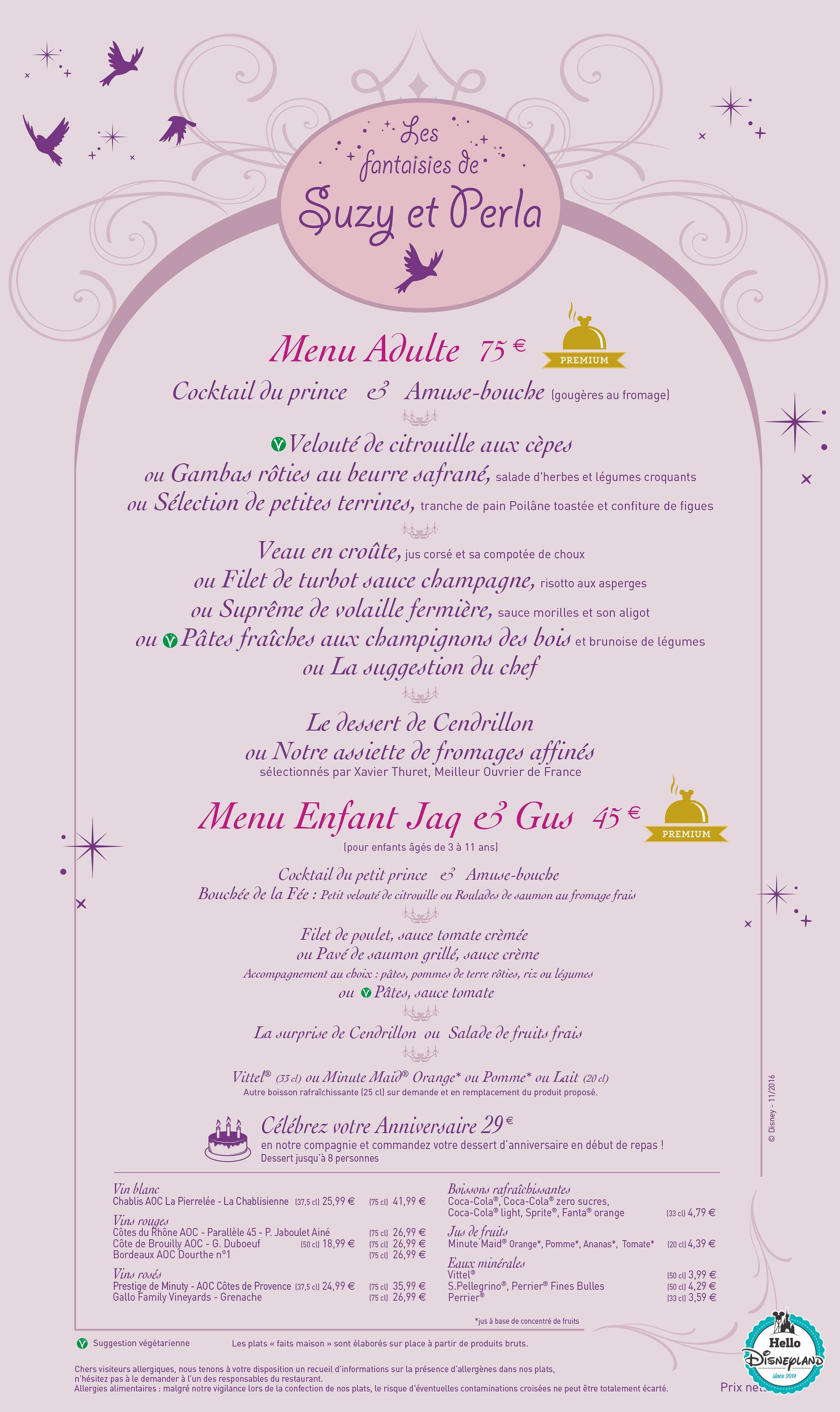 Auberge de Cendrillon menu 2017