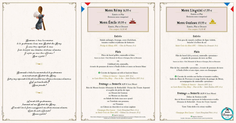 bistrot ratatouille restaurant menu 2017