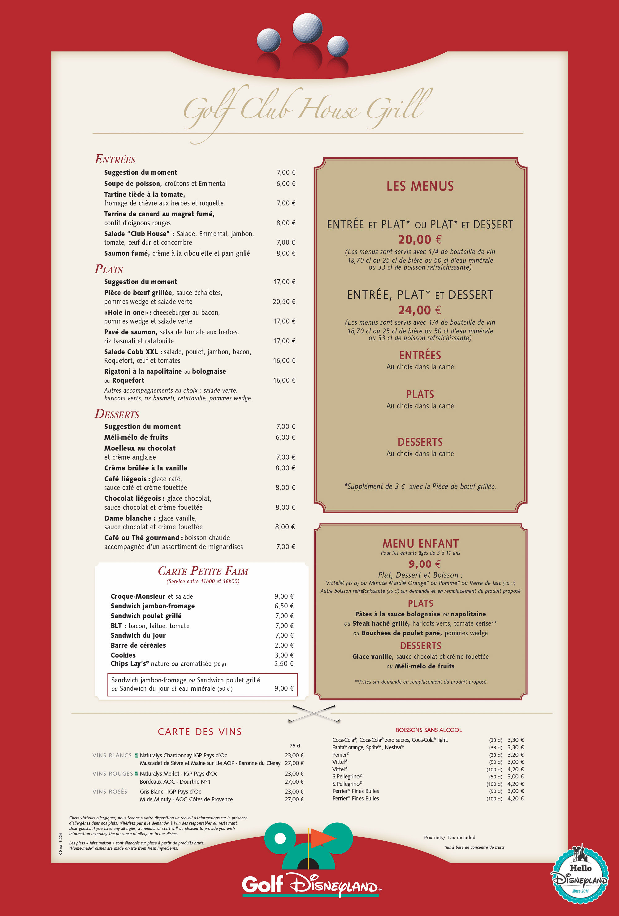 Disneyland Paris Golf Club House Grill Menu 2017