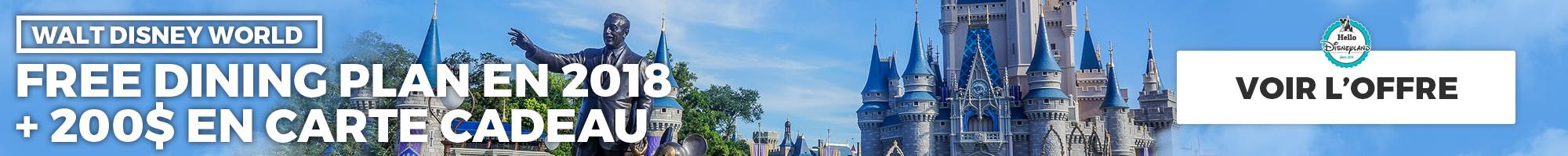 Walt Disney World Free Dining Plan 2018