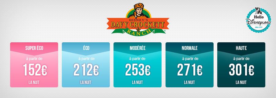 Prix nuit seule Disneyland Paris 2020 - Ranch Davy Crockett