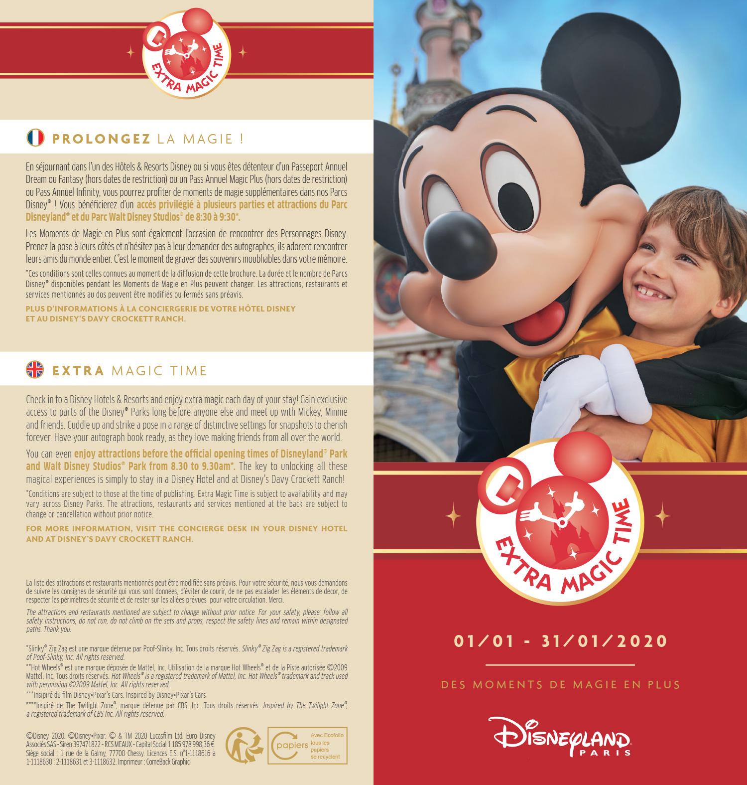 EMT janvier 2020 à Disneyland Paris : programme des attractions ouvertes dès 8h30