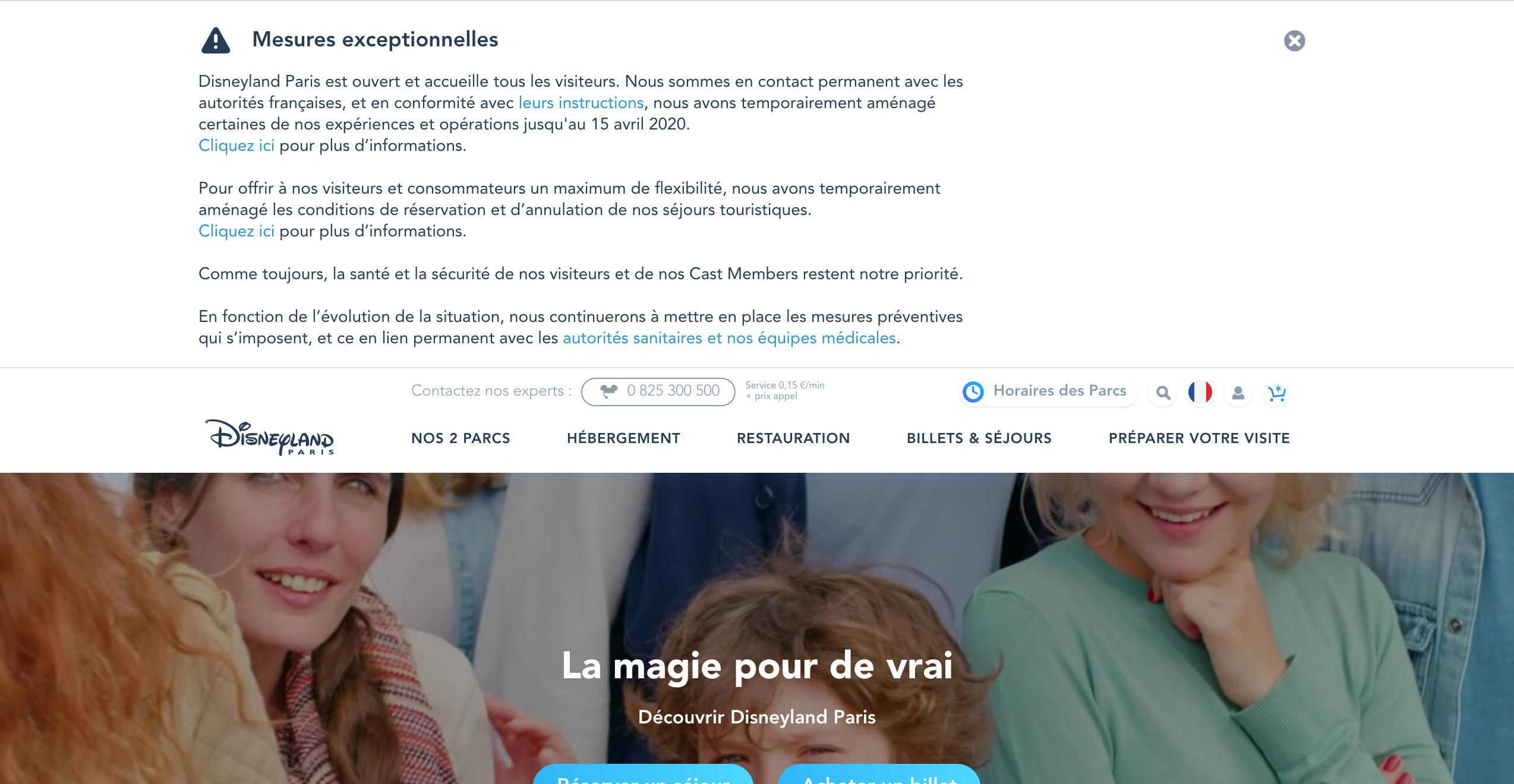 Informations Coronavirus à Disneyland Paris