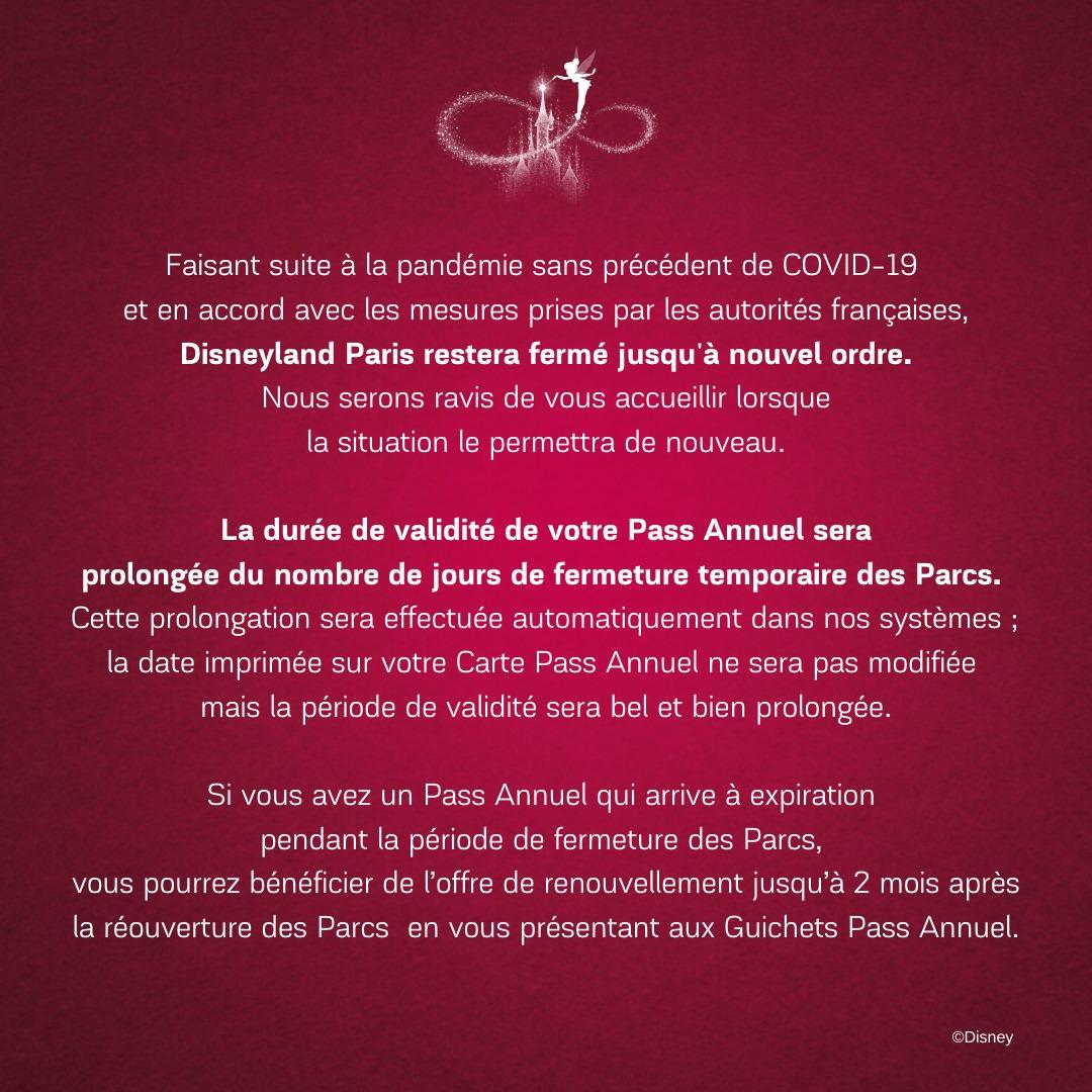 Pass annuel fermeture Disneyland Paris annonce