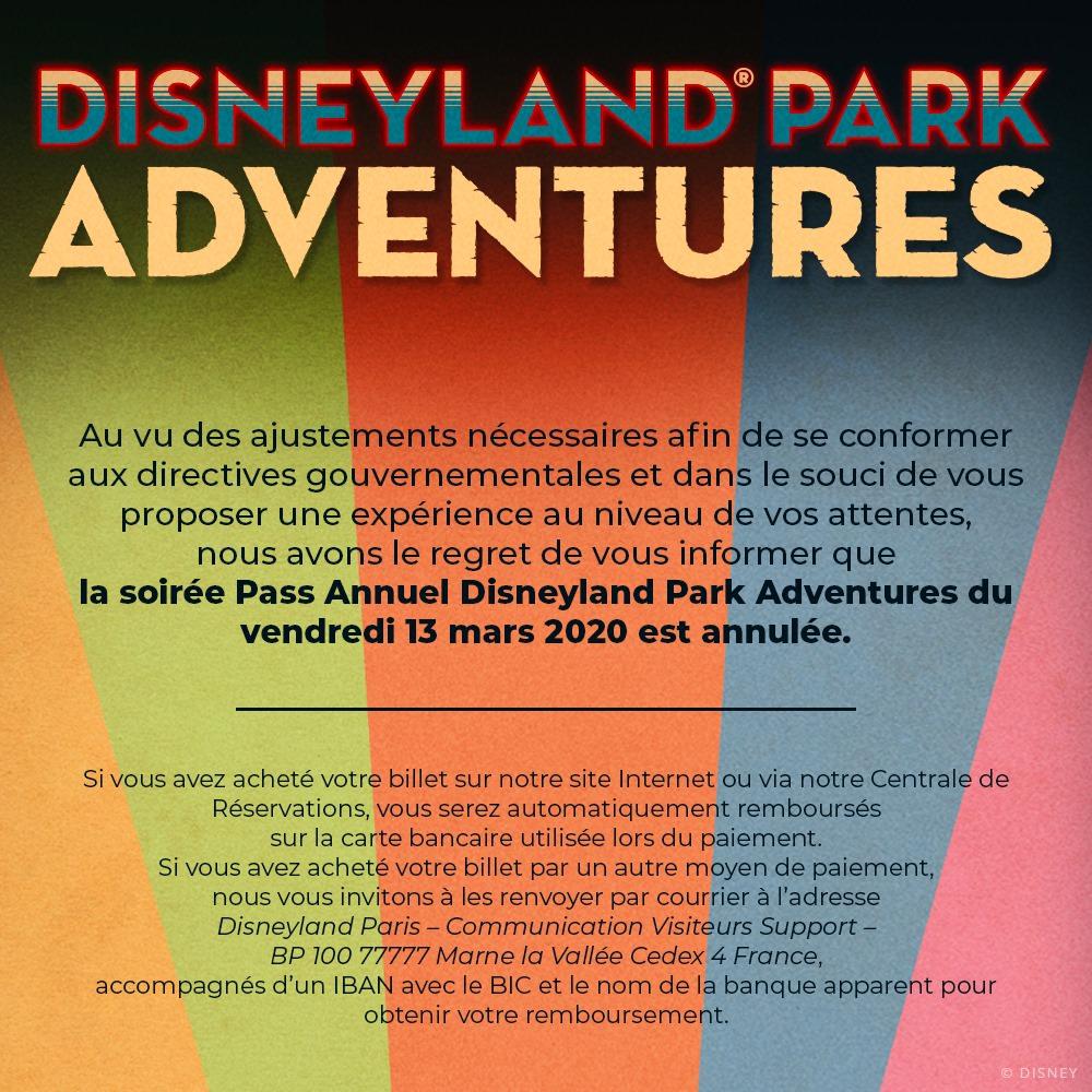 soirée Pass annuel fermeture Disneyland Paris