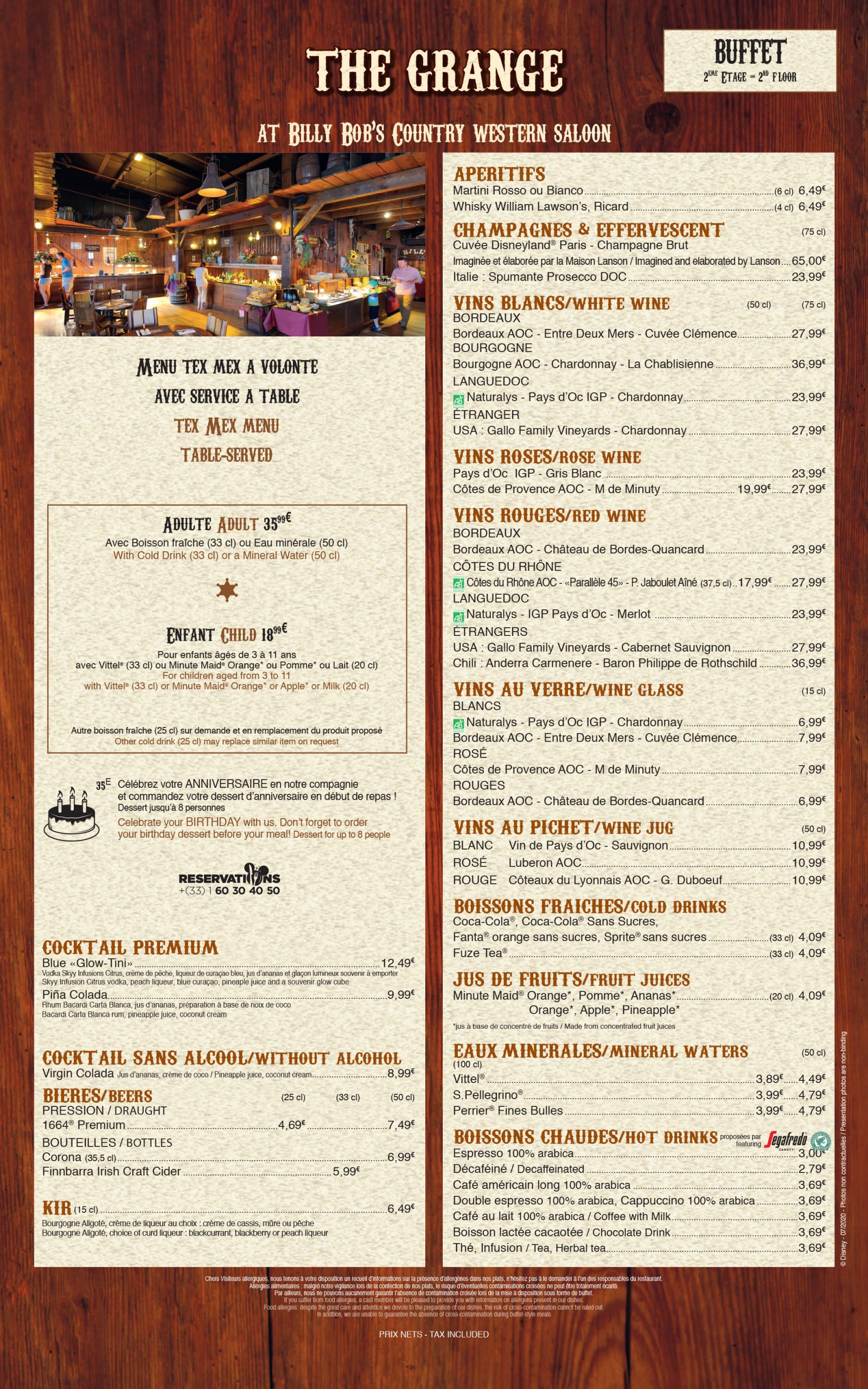 menu-disneyland-paris-2020-la-grange-disney-village