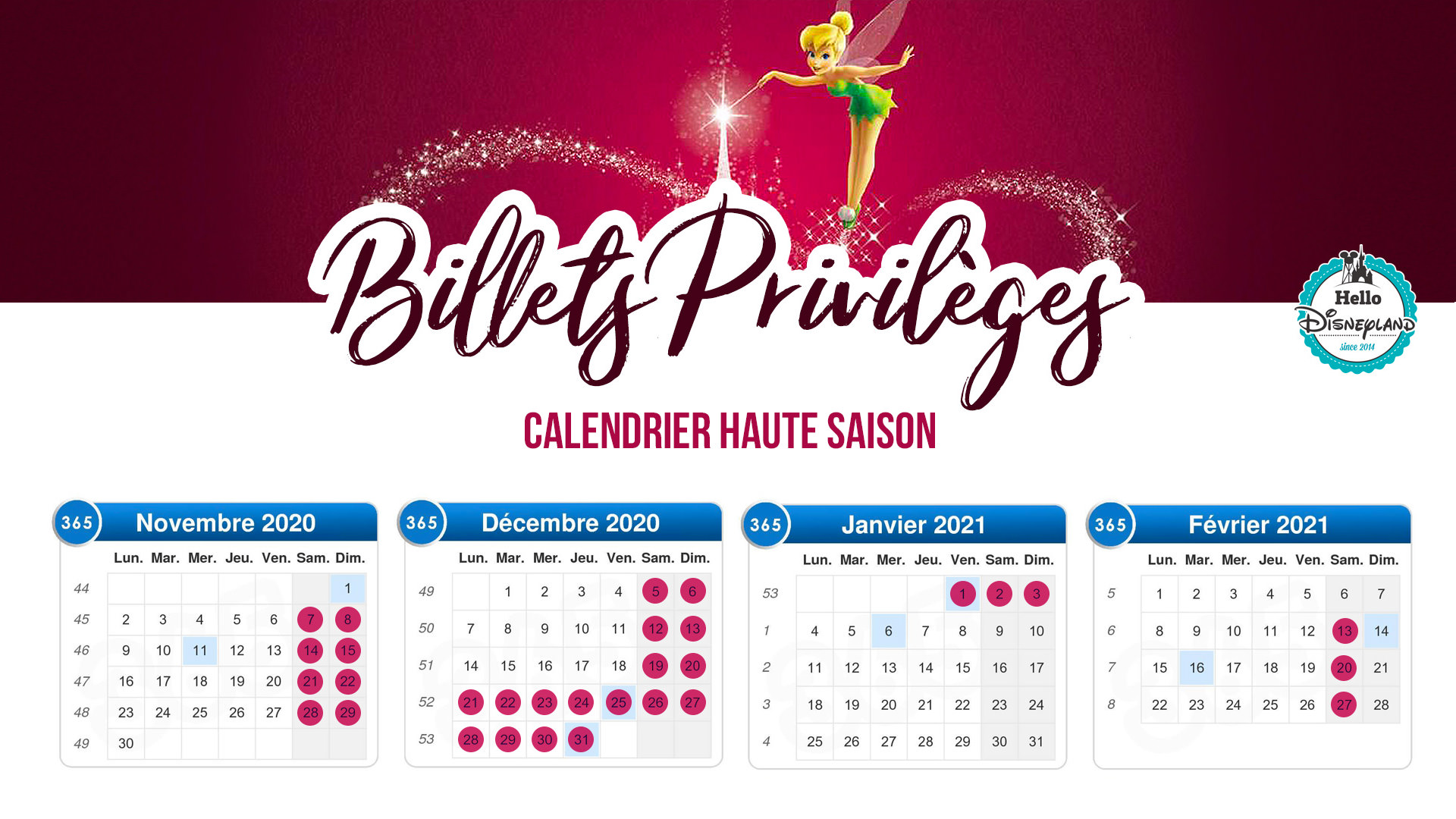 calendrier saison billets privileges 2020 disneyland paris