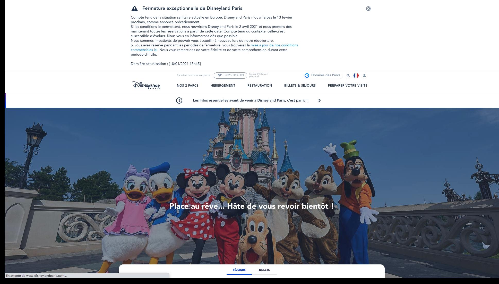 réouverture en avril pour Disneyland Paris